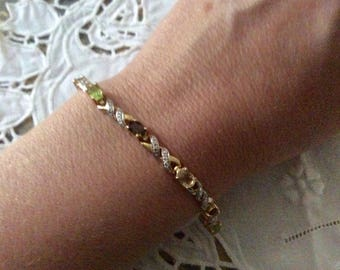 VINTAGE VERMEIL DIAMOND Bracelet - White Yellow Gold and sterling silver-genuine Diamond - Peridot, Citrine, Garnet, Smoky Topaz