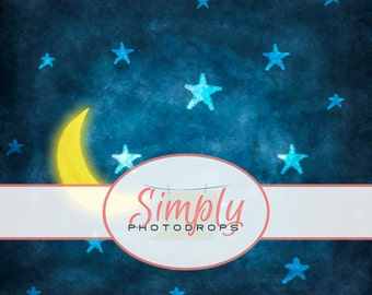 Night SKY with MOON Vinyl Photography Backdrop