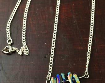 Rainbow Titanium Quartz Crystal Point Bib Necklace on Silver or Gold Metal Chain