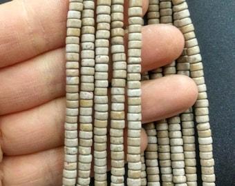Natural Beige Stone Heishi beads 2x4mm- approx 170pcs/Strand