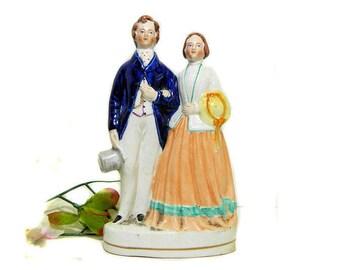 19th Century Antique Staffordshire Victorian Couple Figurine