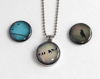 Birds On A Wire - Magnetic Pendant Necklace - with 3 inserts