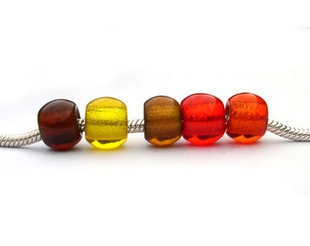 Glass Large Hole Beads for Bracelets - Yellow Brown Gold Red Orange