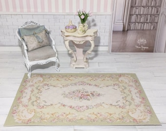 Dollhouse Miniature Rug, 1:12, French Style Aubusson Rug