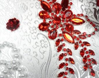 """XR119 Red Crystal Rhinestone Applique Embellishment 7.5"""" (XR119-rd)"""