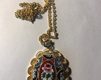 Italian Micro Mosaic pendant necklace on chain