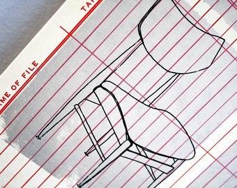 GOLDLÖCKCHEN | midcentury moderne Stühle Kunst, ein original Siebdruck / Serigrafie auf Vintage Büro Papier von Kathryn DiLego