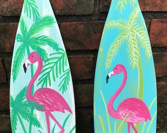 Painted Paddle Oar Art Sign ONE Hand Painted Flamingo Coastal Tropical Beach House Lake Cottage Decor By CastawaysHall