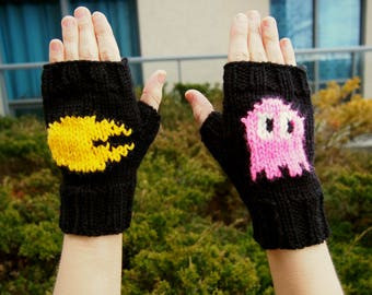 Retro Arcade Inspired Fingerless Gloves - Hand Knit Retro Gaming Gloves - Cosplay Gloves with Pink Ghost