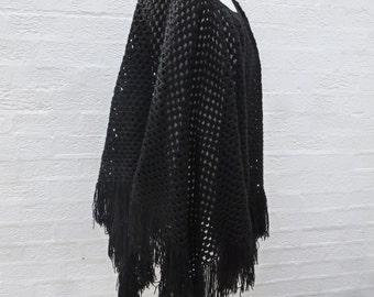 Shawl large black handmade 80s knit cape crochet clothing black poncho womens clothes ladies shawl womens chunky cape vintage gift handmade.
