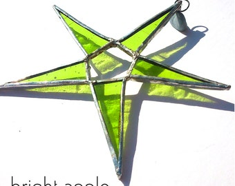 Bright Apple Green Stained Glass Star Suncatcher