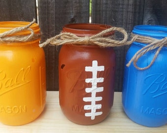 Distressed Mason Jars, Denver Broncos Decor, Football Mason Jars, Football Decor, Utensil  Holders, Football Party Decor, Dorm Decor.