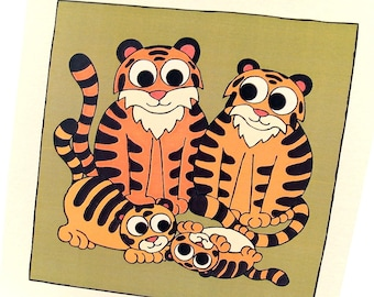 Cute Tiger Family Card - blank inside - a square card featuring cartoon mother and father tigers with 2 cubs. New baby / father's day card