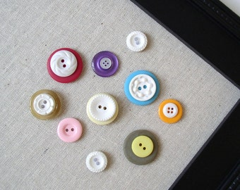 Vintage Style Button Magnets - Colorful Set of 12 in Your Choice of Colors - For Magnetic Memo Bulletin Boards Extra STRONG