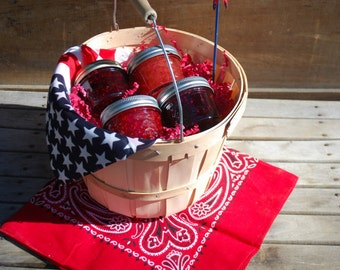 Organic Jam Gift Basket of Four 4 oz Jams of YOUR choice