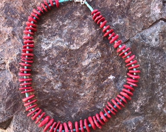 Southwestern Coral and Turquoise Necklace