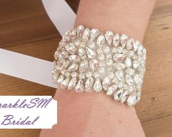 Rhinestone Bracelet, Bridal Bracelet, Rhinestone Cuff, Crystal Cuff, Wedding Cuff, Beaded Bracelet, Bridesmaid Bracelet, Bridesmaid Gift