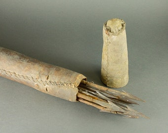 Old African quiver of arrows and skin