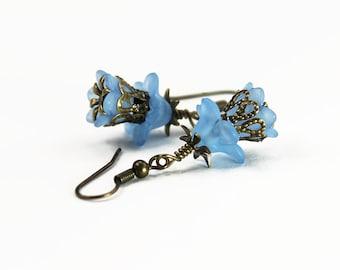 Newport, Vintage Floral Inspired Earrings, Blue Lucite Flowers