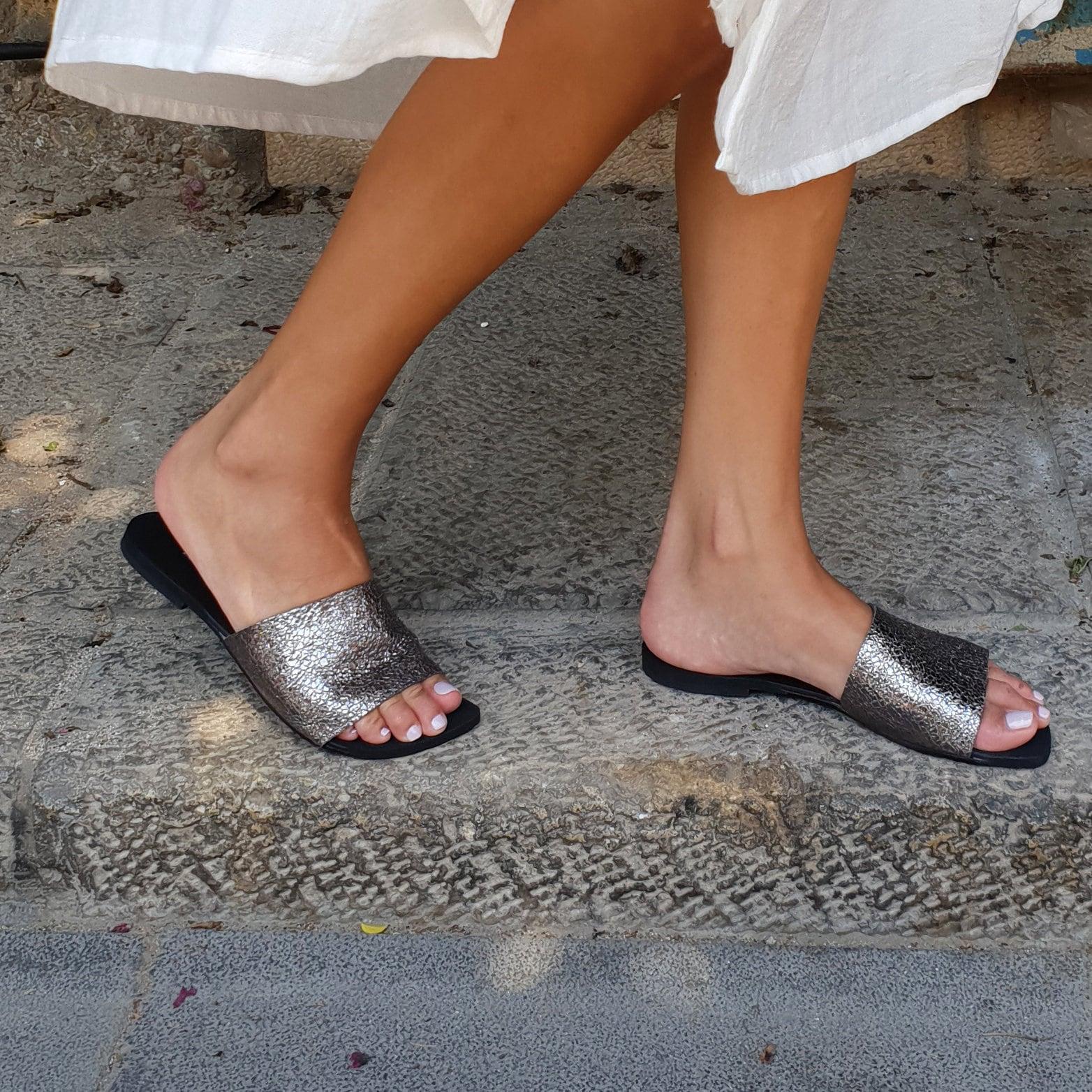 Glisser les sandales, chaussures, ballerines femmes, argent en sur cuir, Slide chaussures, sandales, glisser sur en la chaussure, lames de cuir, chaussure confortable, sabot sandale 295a97