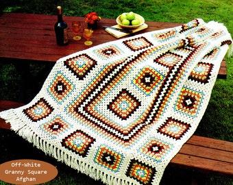 Afghan Crochet Pattern, Granny Square Crochet Afghan Pattern, Motif Crochet, Handmade Gift Idea, INSTANT Download Pattern PDF (1017)