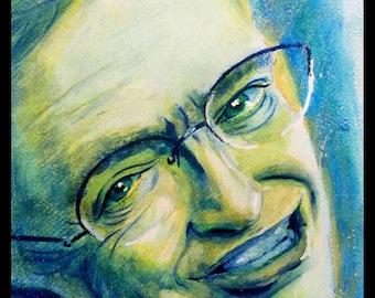 STEPHEN HAWKING Custom Watercolour Portrait