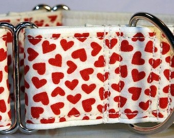 Hound's Closet's 2 Inch Hearts Martingale Collar   Fits Neck 14 to 19 Inches-