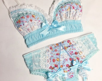 Light Blue Sailor Moon Bra - Pick Your Size - Handmade Vegan Bridal