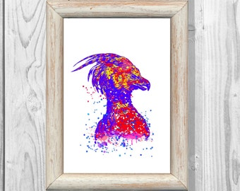 Harry Potter Print  Phoenix Watercolor Poster Fawkes the phoenix Giclee Wall  Art Print  Home Decor Instant Digital Download