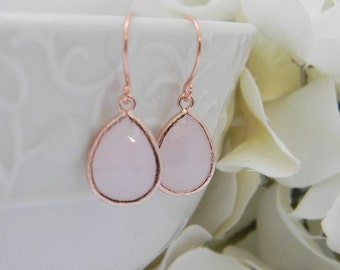 Rose Gold Earrings - Pink Bridesmaid Earrings - Rose Gold Bridesmaid Earrings -  Wedding  Earrings - Bridesmaid Gift - Gift Idea for her