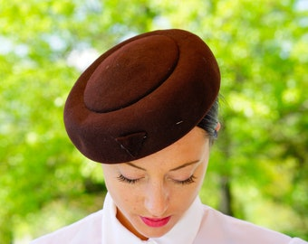 Vintage Felted Wool Hat, Belvedere Style by Henry Pollak Hat, Tilt Hat, Vintage Hat, 1950s Hat, Vintage Millinery, Pillbox Beret Hat