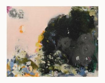 "Abstract flower wall art. modern abstract wall art. contemporary abstract floral art. grey green pink yellow blue ""Flora"""