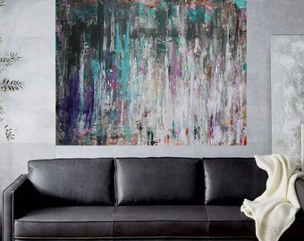 large wall art,abstract painting,xlarge painting,Contemporary aty,teal, turquoise painting,Modern Home Decor art