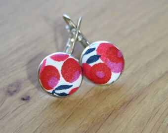 Liberty Fabric Button Earrings, Silver Lever-Back Drop Style