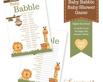 Baby Babble Baby Shower game- jungle safari inspired theme