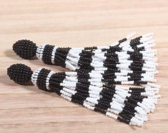 Long beaded tassel, earrings, Oscar de la Renta, long earrings, long beaded tassels, beaded earrings, beaded tassel earrings, boho earrings