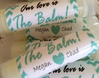 Wedding Favors, 25 Our Love is the Balm Lip Balm Favors, Bridal Party Favors, Mint Green Chevron, Personalized Labels