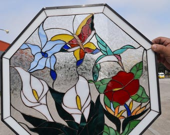 Monarch, Iris & Hummingbird Leaded Stained Glass Window Panel  (we do custom work, email me for quote)