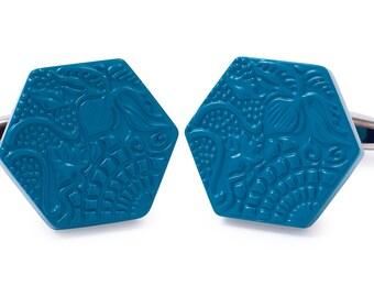 Guadí Cufflinks with blue Enamel