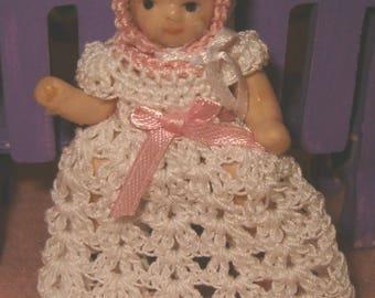 Pretty Handmade Crochet Miniature Doll Gown with Bonnet