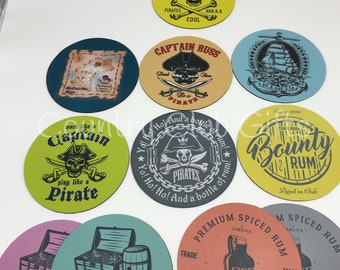 Tiki bar coasters, bar coasters, pirate bar, pool, drink coasters, outdoor bar, bar accessories, tiki coasters, personalized coasters, set/4