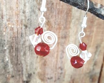Scroll earrings with red crystal bead, Red crystal earrings, Sterling silver earrings, Red and Silver earrings