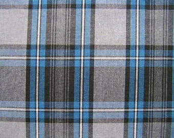 Blue Gray Black Yarn Dyed Plaid Fabric Home Decorating Crafting