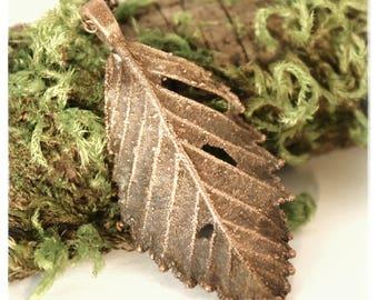 Copper Electroformed Little Alder Leaf