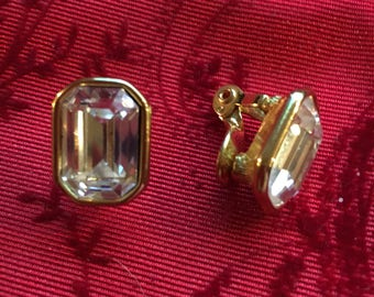 Vintage earrings, Monet Box Crystal ClipOn Earrings, Gold Tone Vintage Large Clear Faceted clip-on earrings, retro ip on