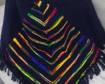 Chunky knit  Poncho, Women Poncho, Knit Cape Pancho, Rainbow poncho, Country style poncho, Multi Color Poncho, Boho poncho, Mexican poncho