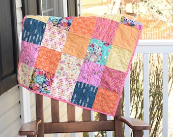 Modern Baby girl Quilt- Ready to ship quilt, baby shower gift, Pink baby quilt, blue baby quilt, Orange baby blanket, Floral baby quilt