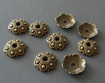16pcs-13mm brass bead cap-Antique bronze  tone flower beads cap