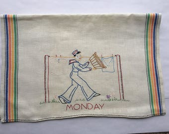 Vintage Embroidered Day of the Week Tea Towels