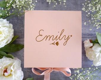 Flower Girl Gift Box - Personalised Pink Gift Box - Pink Keepsake Box - Junior Bridesmaid Proposal Box - Will you be my Brdesmaid Gift Box